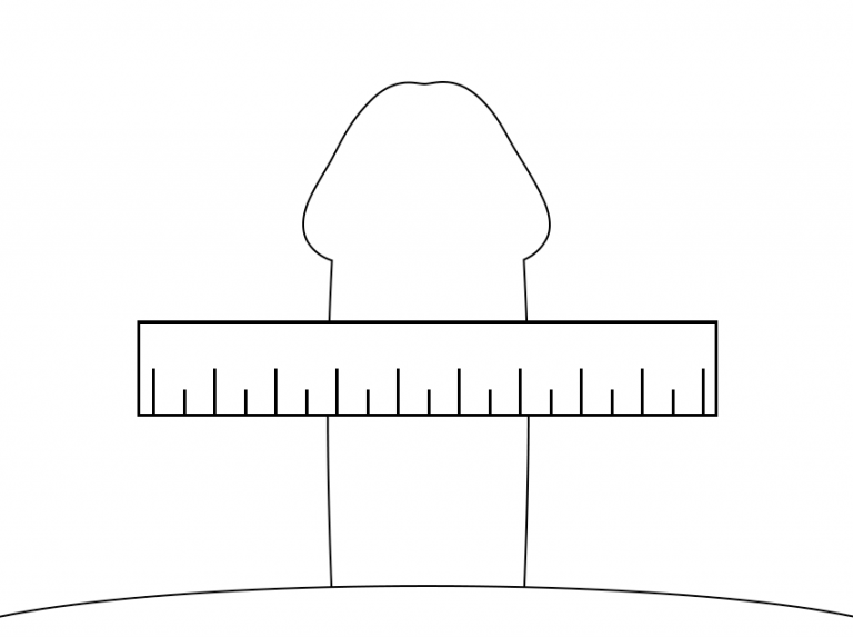 亀頭と竿の直径を図る際は、この図を参考にしてください。
