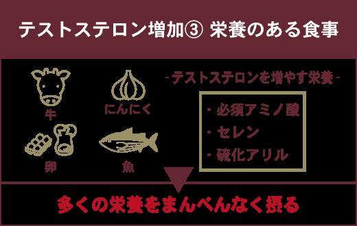 テストステロンを増やす方法:③栄養のある食事 ✓必須アミノ酸(牛・卵) ✓セレン(魚) ✓硫化アリル (にんにく)▶多くの栄養をまんべんなく摂る