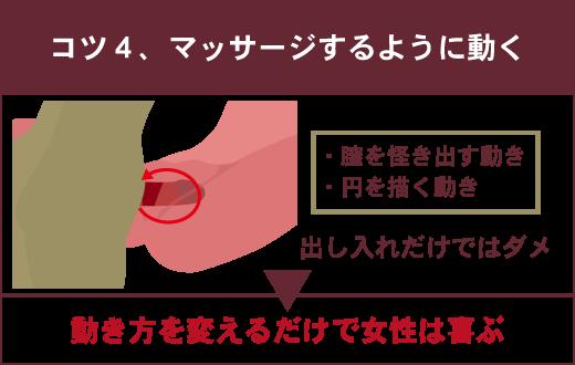 【正常位で女性を満足させる4つのコツ】④マッサージをするように動く ・膣を掻き出す動き・円を描く動き 出し入れだけではダメ ▶動き方を変えるだけで女性は喜ぶ