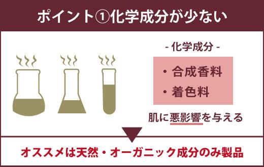 【ジェルキング用のローションを選ぶ3つのポイント】ポイント①化学成分が少ない -化学成分-・合成香料・着色料 肌に悪影響を与える ▶オススメは天然・オーガニック成分のみ製品
