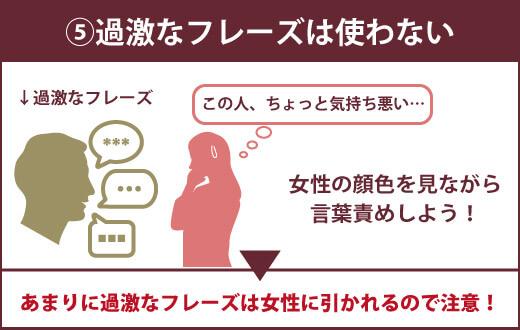 【女性への言葉責め前に知っておきたい5つの注意点】⑤過激なフレーズは使わない 女性の顔色を見ながら言葉責めしよう! ▶あまり過激なフレーズは女性に惹かれるので注意!