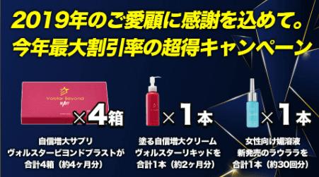 令和初の歳末キャンペーンでVolstar製品が63%超OFFで手に入ります。